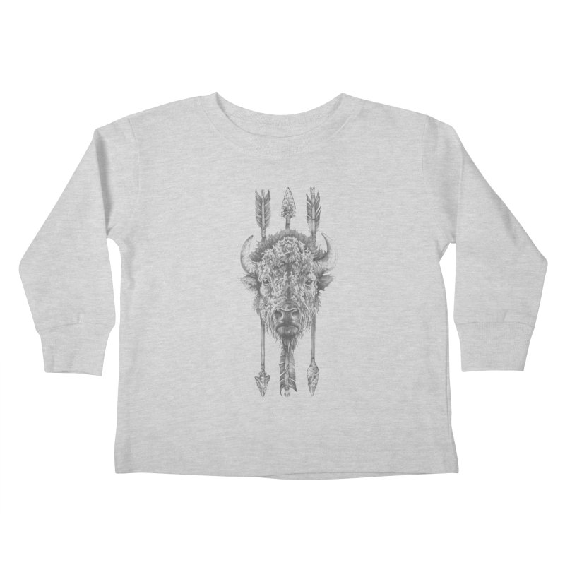 Bison Sketched Kids Toddler Longsleeve T-Shirt by Mike Kavanagh's Artist Shop