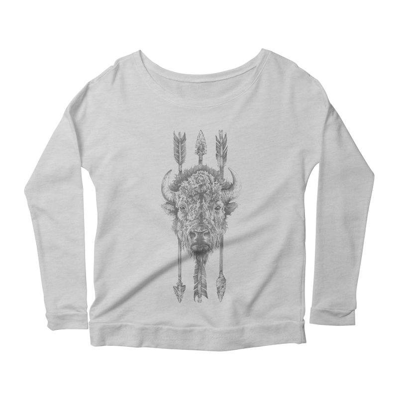 Bison Sketched Women's Scoop Neck Longsleeve T-Shirt by Mike Kavanagh's Artist Shop