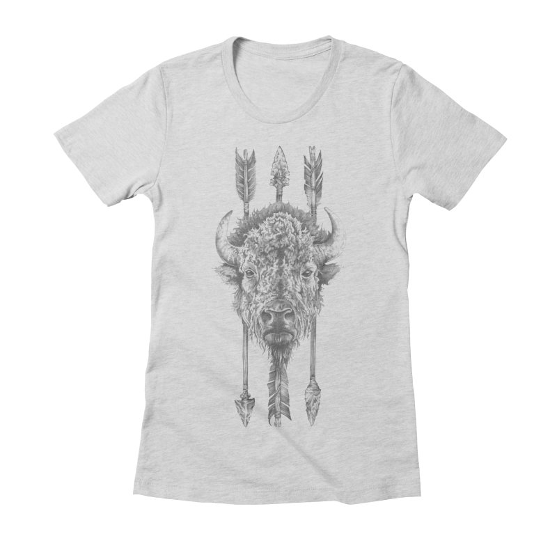 Bison Sketched Women's Fitted T-Shirt by Mike Kavanagh's Artist Shop
