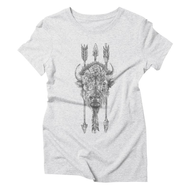 Bison Sketched Women's Triblend T-Shirt by Mike Kavanagh's Artist Shop