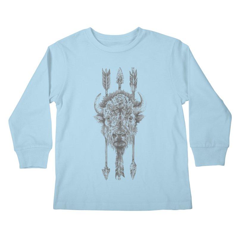 Bison Sketched Kids Longsleeve T-Shirt by Mike Kavanagh's Artist Shop