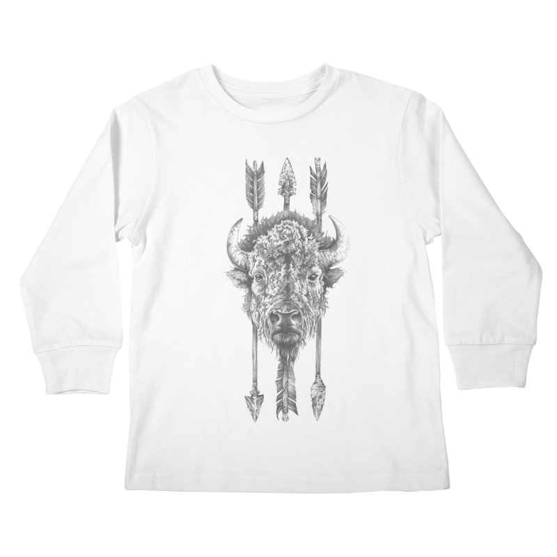 Bison Sketched Kids Longsleeve T-Shirt by Mike Kavanagh's Artist Shop