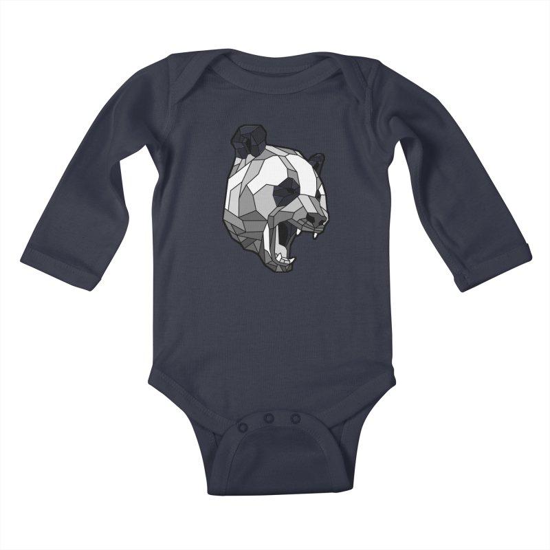 Panda Roar Kids Baby Longsleeve Bodysuit by Mike Kavanagh's Artist Shop