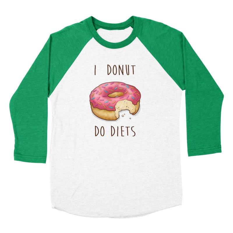I Donut Do Diets Men's Baseball Triblend Longsleeve T-Shirt by Mike Kavanagh's Artist Shop