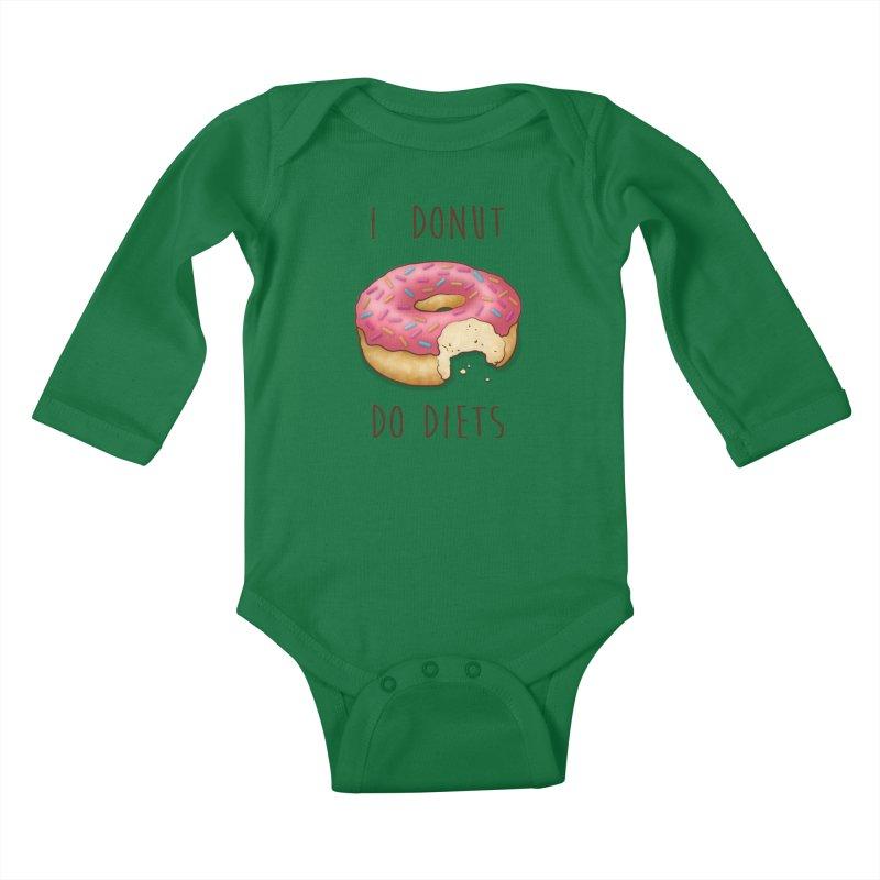 I Donut Do Diets Kids Baby Longsleeve Bodysuit by Mike Kavanagh's Artist Shop