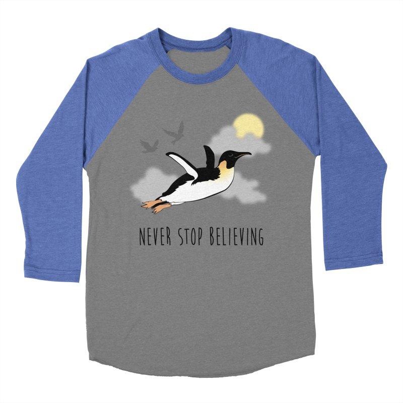 Never Stop Believing Women's Baseball Triblend Longsleeve T-Shirt by Mike Kavanagh's Artist Shop