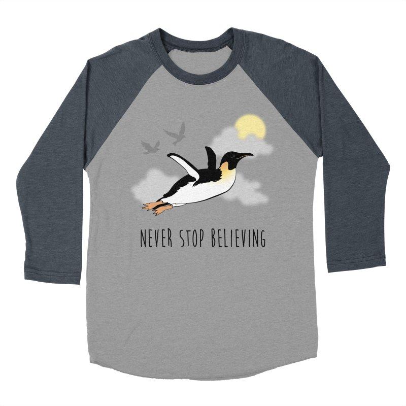 Never Stop Believing Women's Baseball Triblend T-Shirt by Mike Kavanagh's Artist Shop