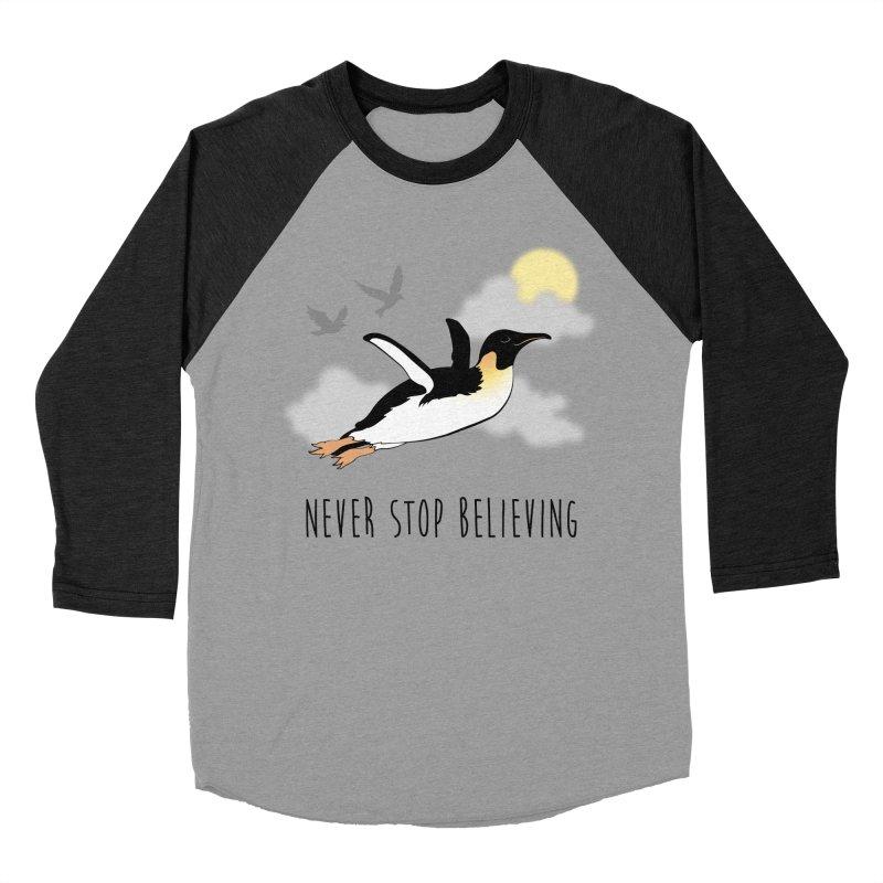 Never Stop Believing Men's Baseball Triblend Longsleeve T-Shirt by Mike Kavanagh's Artist Shop