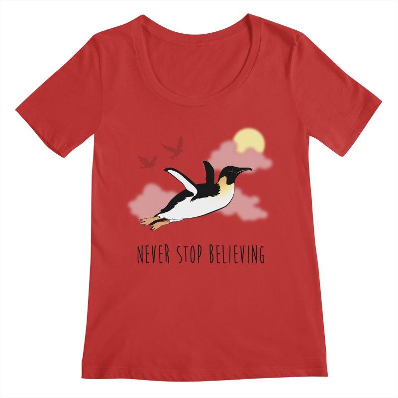 Never Stop Believing Women's Regular Scoop Neck by Mike Kavanagh's Artist Shop