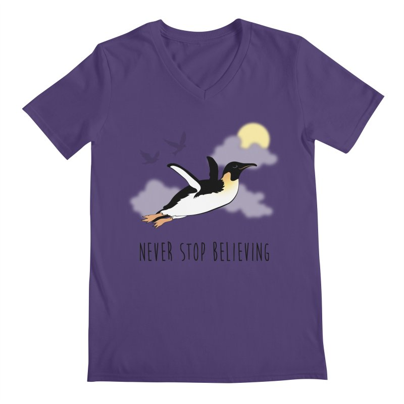 Never Stop Believing Men's V-Neck by Mike Kavanagh's Artist Shop