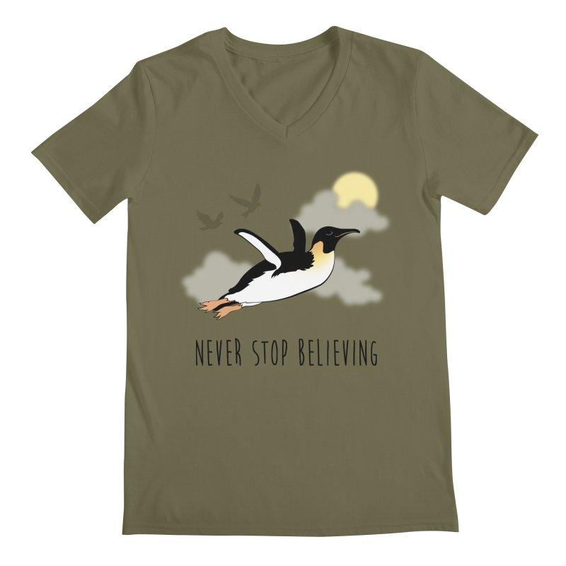Never Stop Believing Men's V-Neck by Mike Kavanagh's Artist Shop