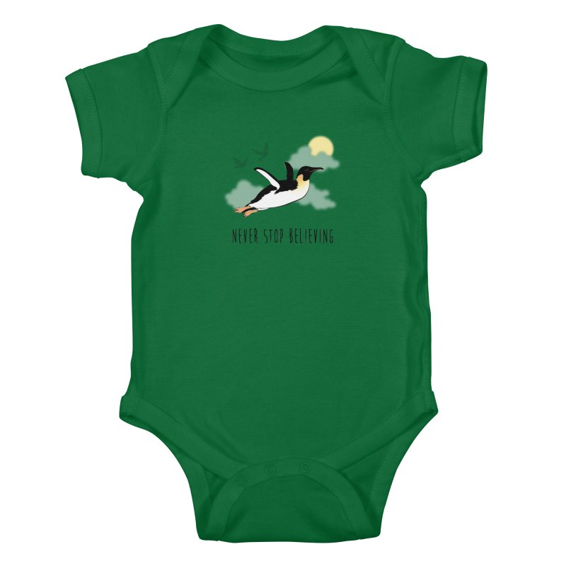 Never Stop Believing Kids Baby Bodysuit by Mike Kavanagh's Artist Shop