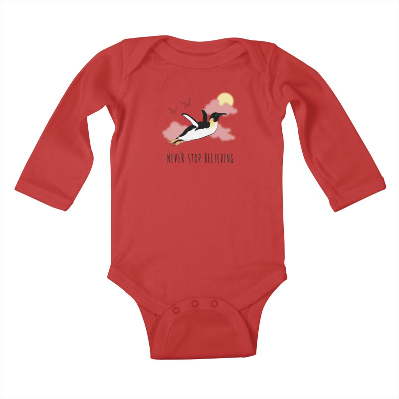 Never Stop Believing Kids Baby Longsleeve Bodysuit by Mike Kavanagh's Artist Shop