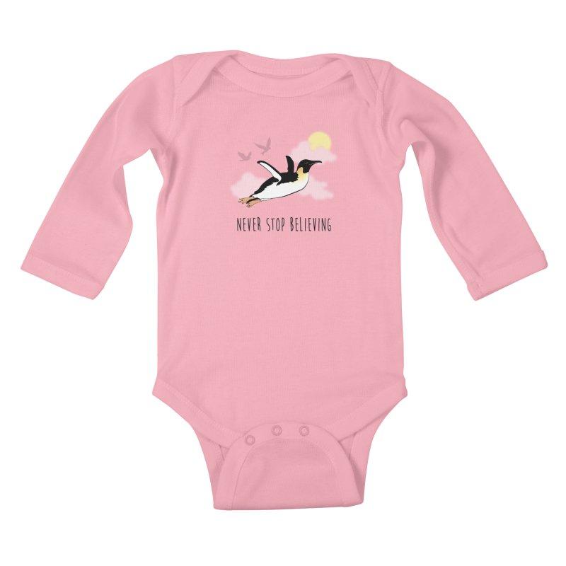 Never Stop Believing Kids Baby Longsleeve Bodysuit by Mike Kavanagh's Artist Shop