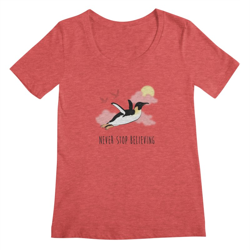 Never Stop Believing Women's Scoopneck by Mike Kavanagh's Artist Shop