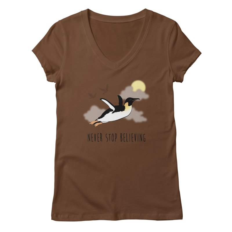 Never Stop Believing Women's Regular V-Neck by Mike Kavanagh's Artist Shop