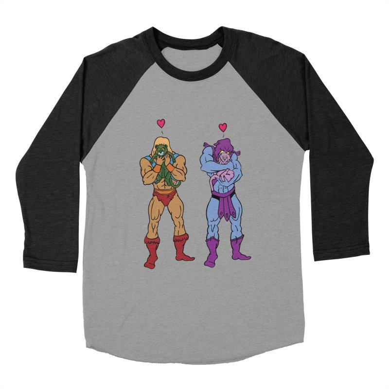 He-Man and Skeletor Snuggle Break Men's Baseball Triblend T-Shirt by mikemcleod's Artist Shop