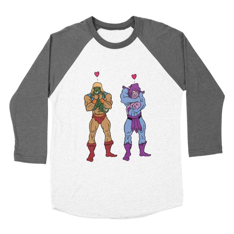 He-Man and Skeletor Snuggle Break Men's Baseball Triblend Longsleeve T-Shirt by mikemcleod's Artist Shop