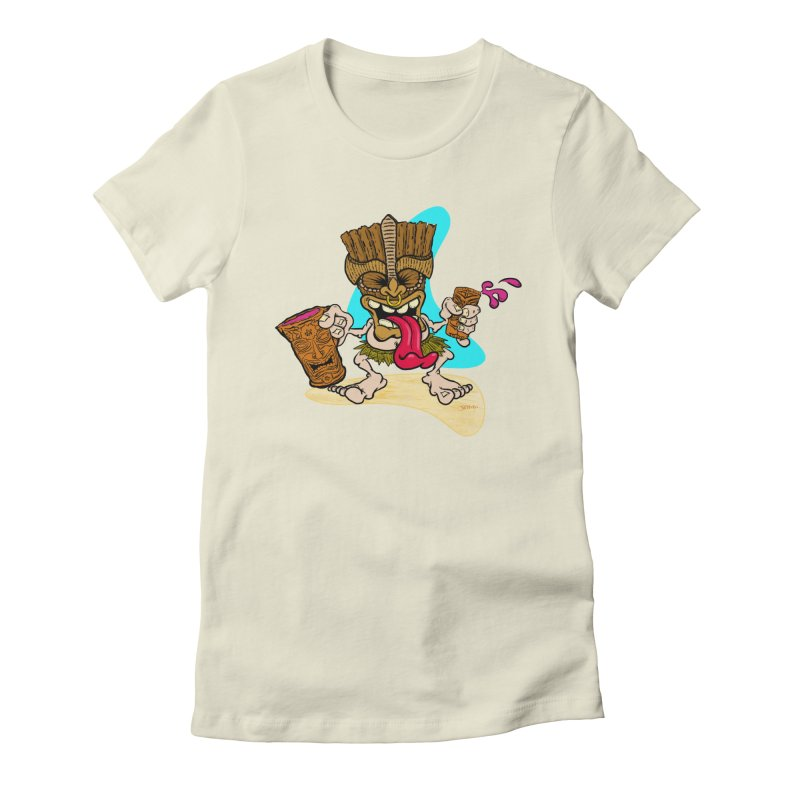 Freaky Tiki in Women's Fitted T-Shirt Natural by Mike Moore Studios's Artist Shop