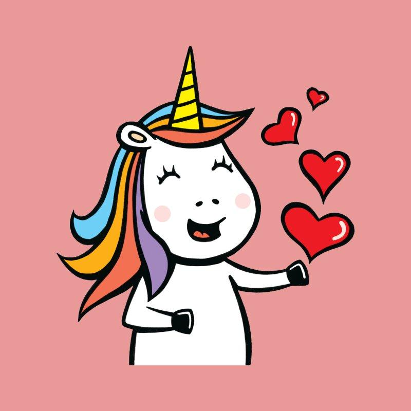 Unicorn With Hearts Kids T-Shirt by Mike Schmidt Comics - Artist Shop