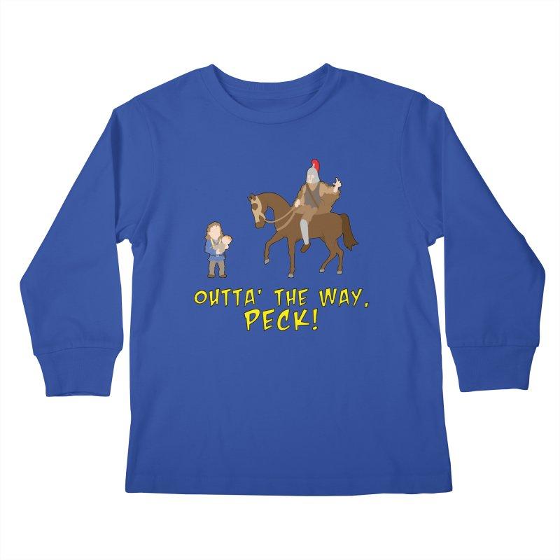 Outta' The Way, Peck! Kids Longsleeve T-Shirt by Mike Schmidt Comics - Artist Shop