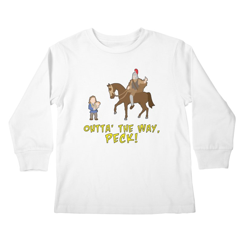 Outta' The Way, Peck! Kids Longsleeve T-Shirt by Mike Schmidt Comics - Artist Shop