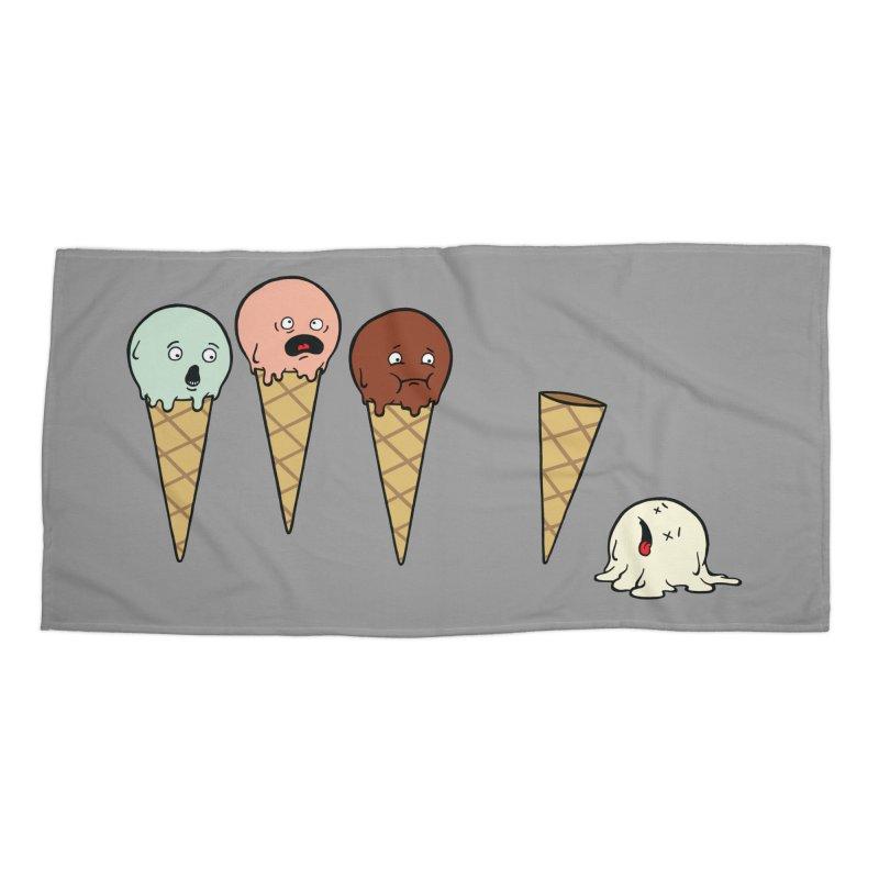 Ice Cream Horror Accessories Beach Towel by Mike Schmidt Comics - Artist Shop