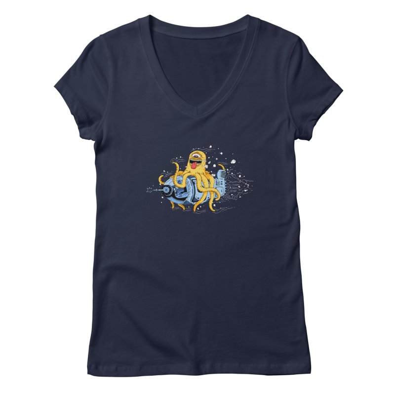Squid Cruisin Women's V-Neck by mikeshea's Artist Shop