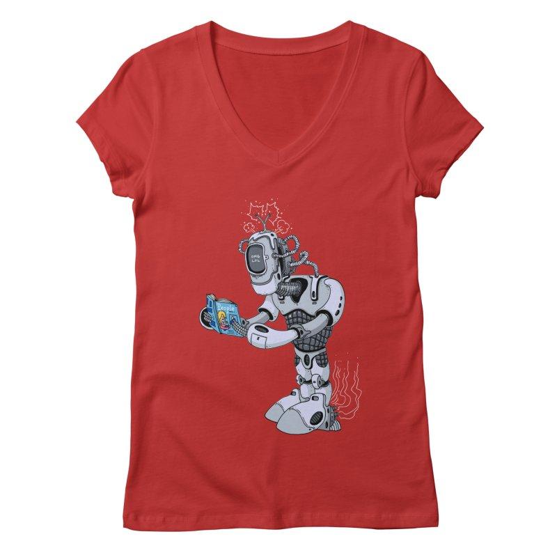 Brobot Women's V-Neck by mikeshea's Artist Shop