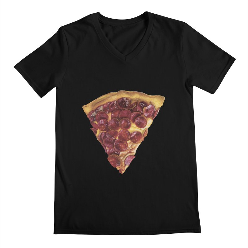 Pepperoni Men's Regular V-Neck by mikesobeck's Artist Shop
