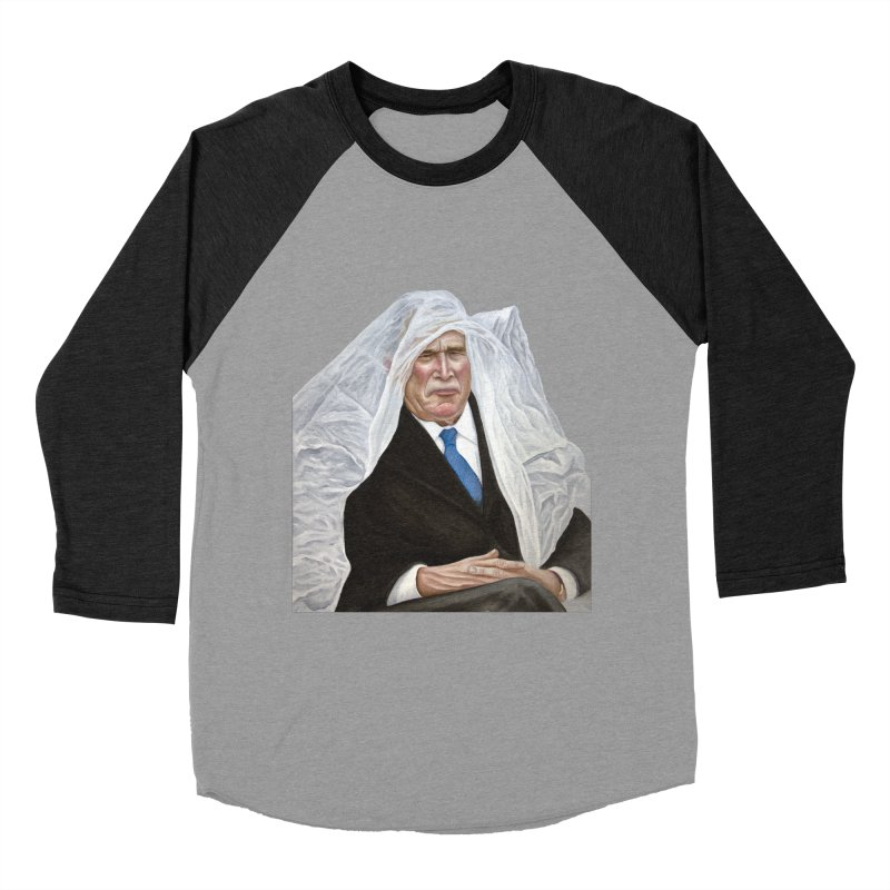George W. Bush Men's Baseball Triblend T-Shirt by mikesobeck's Artist Shop