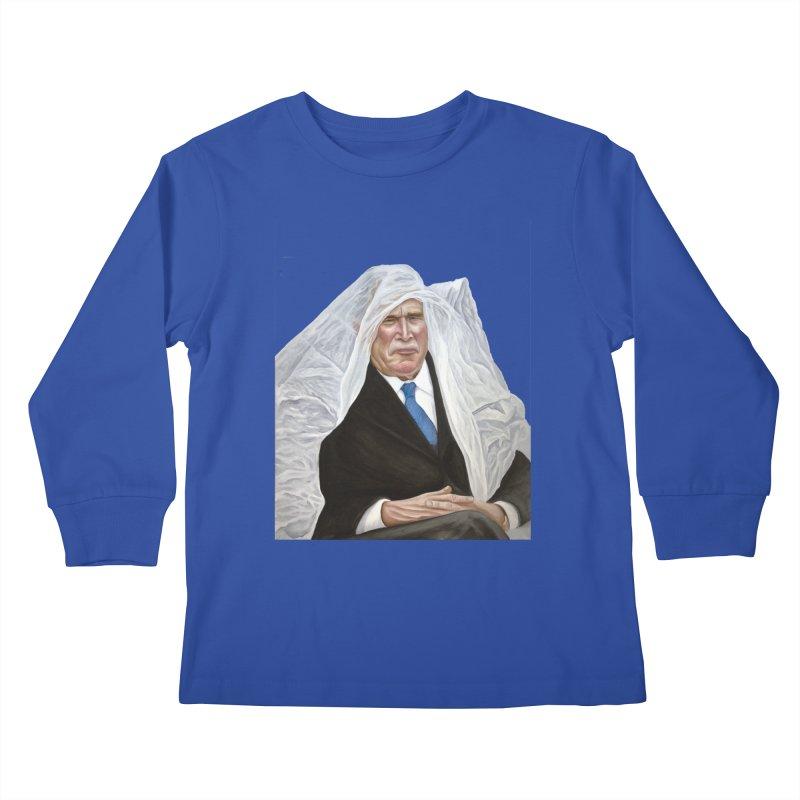 George W. Bush Kids Longsleeve T-Shirt by mikesobeck's Artist Shop