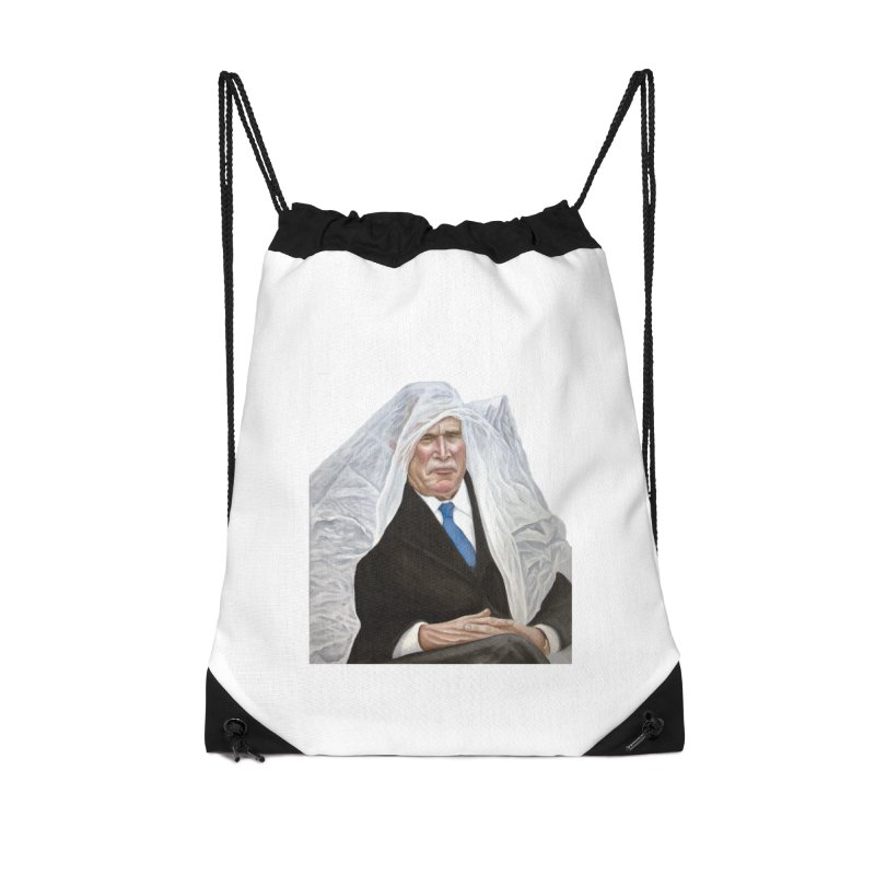 George W. Bush Accessories Drawstring Bag Bag by mikesobeck's Artist Shop