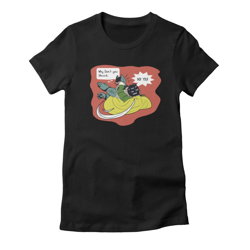 Robin Counter Attacks  Women's Fitted T-Shirt by mikhovski's Artist Shop