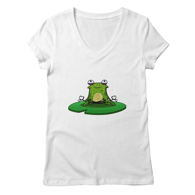 Sensei the Frog Women's Regular V-Neck by mikibo's Shop