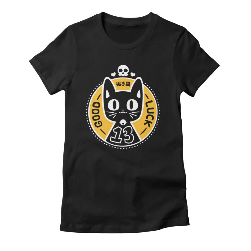 Black Cat Women's Fitted T-Shirt by ZombieMiki's Shirts & Stuff