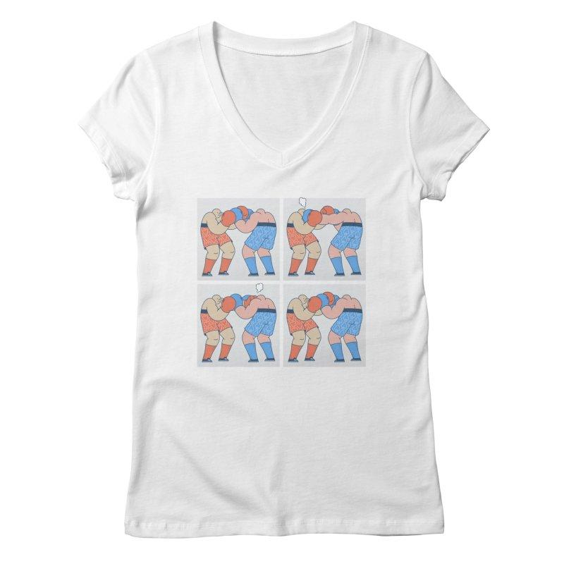 Boxing T-shirt Women's Regular V-Neck by Mikko Saarainen's Artist Shop
