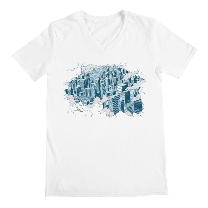 City T-shirt Men's Regular V-Neck by Mikko Saarainen's Artist Shop