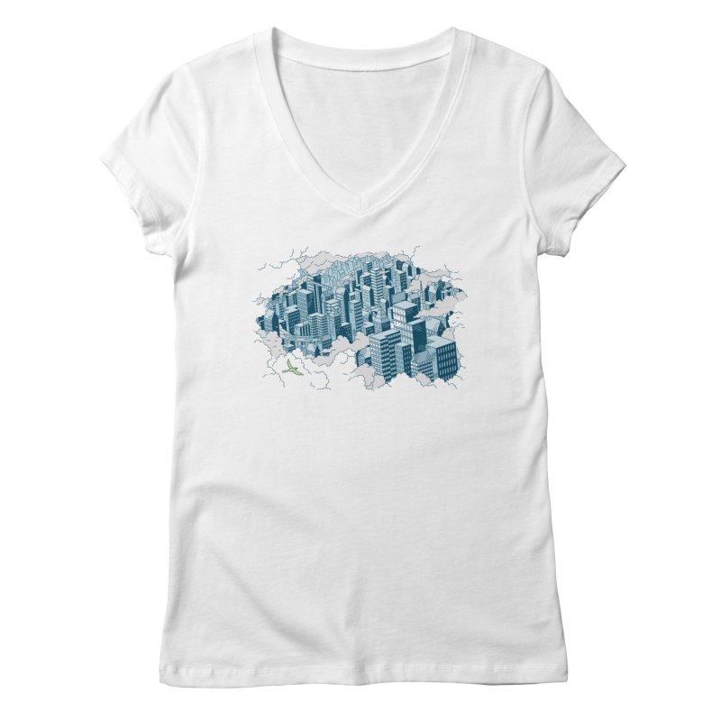 City T-shirt Women's Regular V-Neck by Mikko Saarainen's Artist Shop