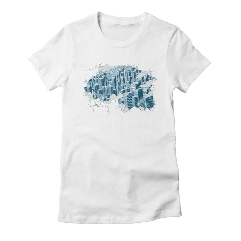 City T-shirt Women's Fitted T-Shirt by Mikko Saarainen's Artist Shop