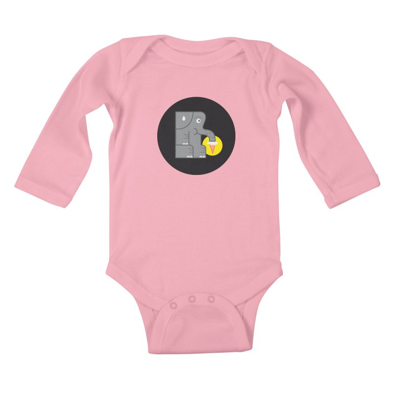 Elephant Ice Cream Kids Baby Longsleeve Bodysuit by milanrubio's Artist Shop