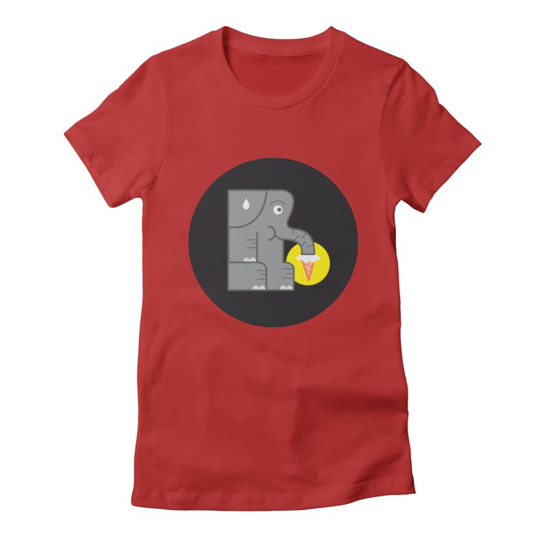 Elephant Ice Cream Women's Fitted T-Shirt by milanrubio's Artist Shop