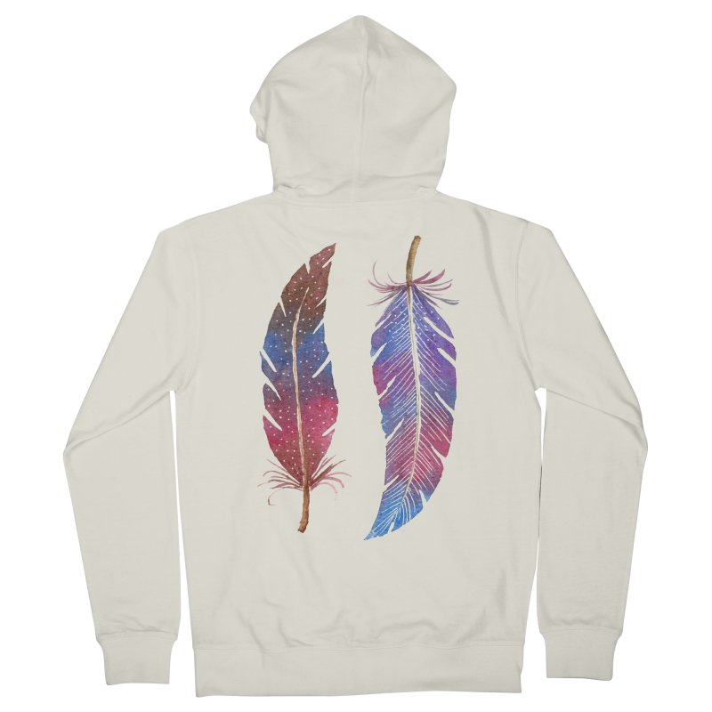 Feathers Men's French Terry Zip-Up Hoody by milenabdesign's Artist Shop