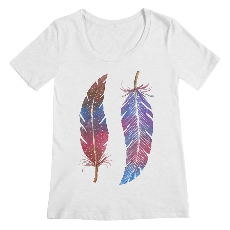 Feathers Women's Scoop Neck by milenabdesign's Artist Shop