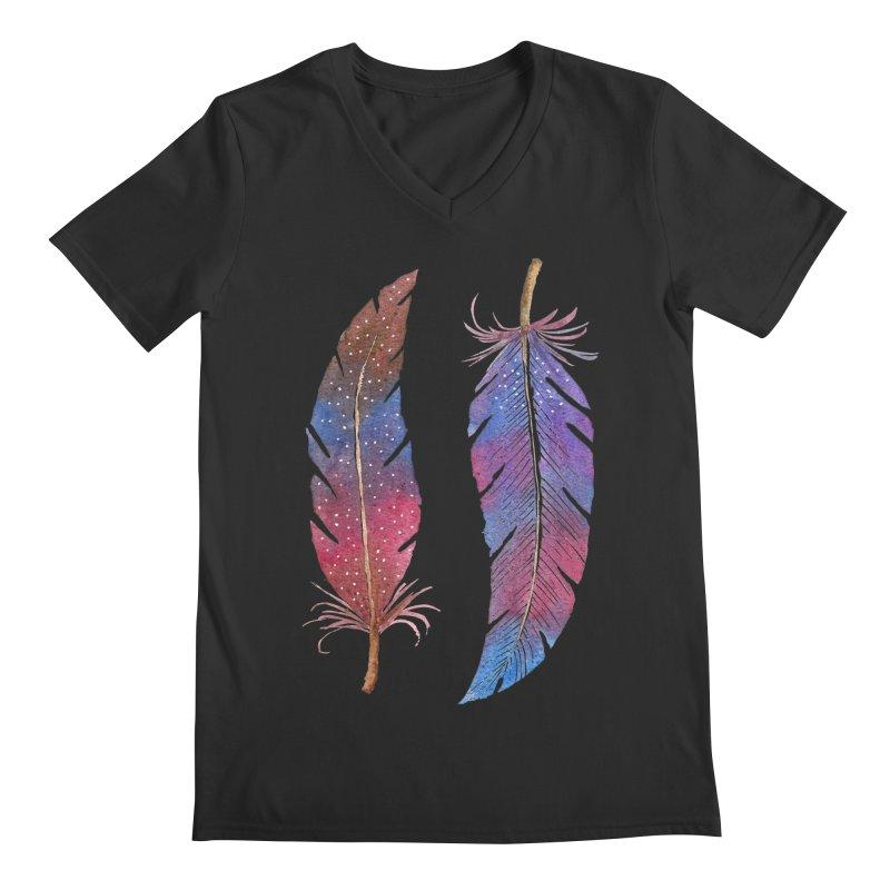 Feathers Men's Regular V-Neck by milenabdesign's Artist Shop