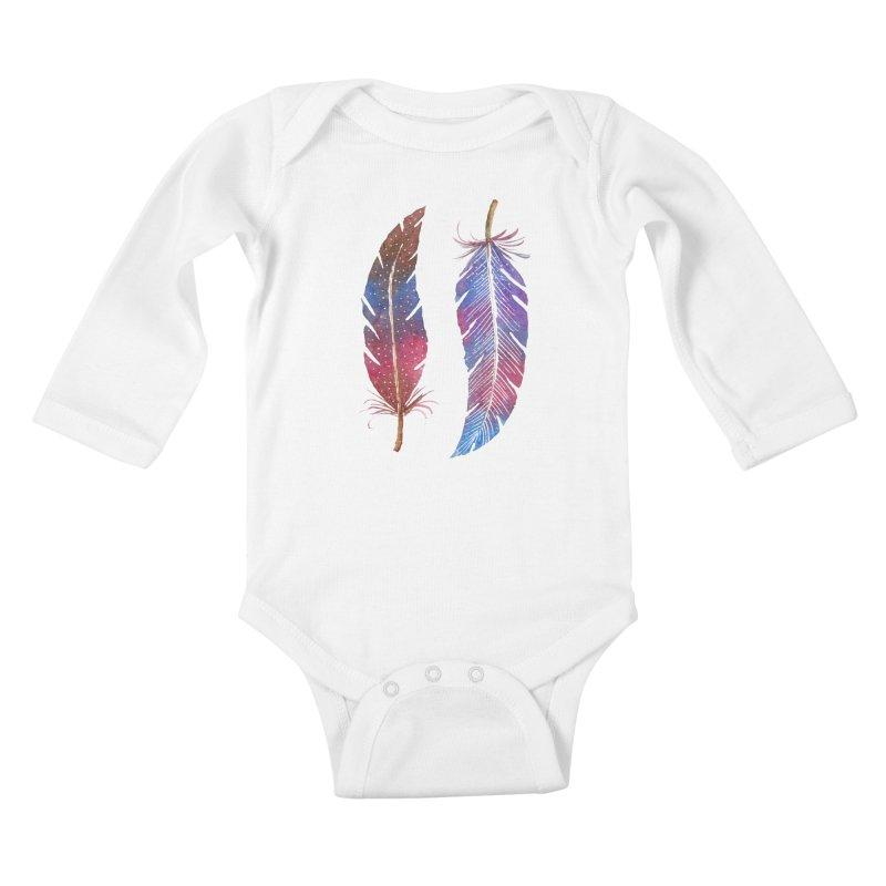 Feathers Kids Baby Longsleeve Bodysuit by milenabdesign's Artist Shop