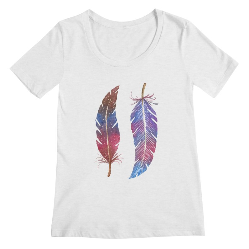 Feathers Women's Regular Scoop Neck by milenabdesign's Artist Shop