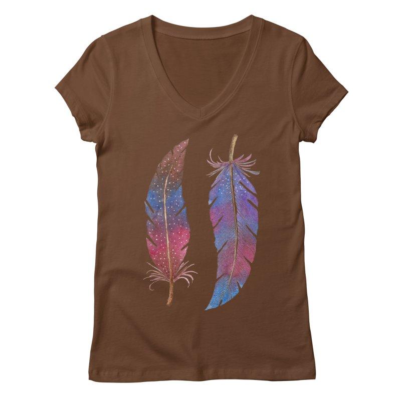 Feathers Women's Regular V-Neck by milenabdesign's Artist Shop