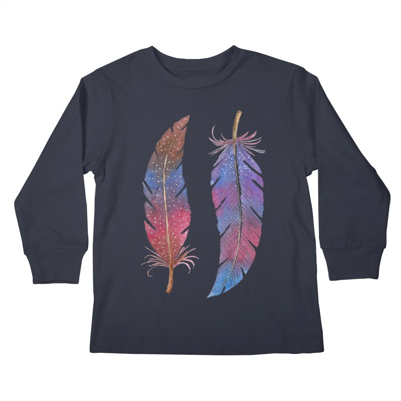 Feathers Kids Longsleeve T-Shirt by milenabdesign's Artist Shop