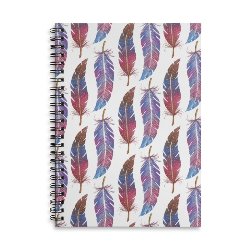 Feathers Pattern Accessories Lined Spiral Notebook by milenabdesign's Artist Shop